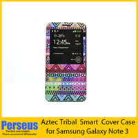 Cheap For Samsung Aztec Tribal for Note 3 Best Leather  N9006 Smart case
