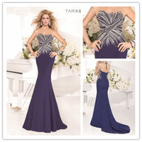 Wholesale 2014 Tarik Ediz Matte Satin Mermaid Trumpet Formal Evening Dresses Sheer Tulle Neck Jewel Criss Cross Sequined Pearls Prom Gown TK92325