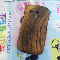 For Apple iPhone Metal Plastic Samsung I8190 GALAXY S3 mini wood phone shell protective sleeve leopard grain veneer shell with carbon fiber