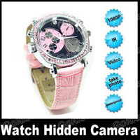 Wholesale 8GB GB HD P Hidden Watch Camera Auto IR Night Vision ATM Waterproof With LED Light With Retail Box V206