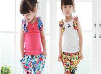 Summer berry cotton - New Arrival Summer Kids Clothing Casual Set Berry Pastorale Floral Vest Tshirt Harem Pants Girl Suits Year Children Set GX90