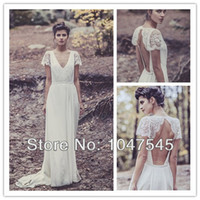 A-Line Reference Images V-Neck Vintage Floor Length V Neck Wedding Dresses 2014 Long Boho Hippie Chiffon A Line Lace Cap Sleeve Bridal Gowns Backless Robe De Soiree