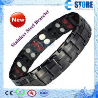 Wholesale Stainless Steel Bracelet with magnet stone or Germanium White Ion and FIR stone in far infrared Energy magnetic bracelet wu