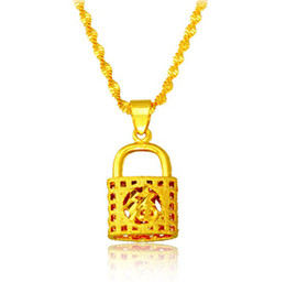 24k gold-plated lock pendant Necklace, designer fashion 2016 new chains maxi necklaces for women,collier jewelry