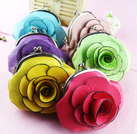 Wholesale NEW Women s Fashion PU leather Camellia Flower Rose Shaped Zero Coin Purse Wallet Satchels Handbag AA06