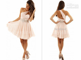 Wholesale 2014 Zuhair Murad Homecoming Dresses Sexy One Shoulder Sleeveless Backless Sequins Beads Glitz Short Mini Formal Prom Party Gowns BO3178