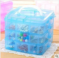 Wholesale Creative three removable transparent plastic storage box grid of small cosmetics case hair accessories jewelry box with cover shipping