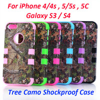 Wholesale RealTree Camo Cases Serie For iphone S S C Samsung Galaxy S4 S3 Shockproof Cell Phone Case Hybrid Silicone Skin With Plastic Shell