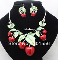 big fancy earrings - 2014newest brand lovely big cherry wedding bridal jewelry sets fancy vintage necklace and earrings sets for women