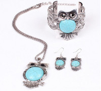 Wholesale Vintage Retro Silver Chain Turquoise Owl Bib Pendant Necklace Bracelet Earrings