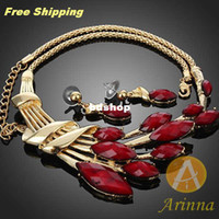 Wholesale Arinna Fashion Marquise Red Ruby Necklace Earring Party Jewerly Set k Gold GP Christmas gift G0266