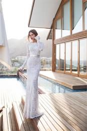 Wholesale Julie Vino Sheath Wedding Dresses Bateau Long Sleeve Covered Button Floor Length Lace Sash Simple Style Bridal Gowns Elegant WJ