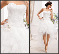 A-Line short strapless dress - 2015 Hi Lo Ball Gown Wedding Dresses Tulle Modest Puffy gown Detachable Strapless Backless Sleeveless Short Wedding dresses Custom Made
