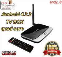 Wholesale Android TV Box Jelly Bean OS CX918 Quad Core Cortex A9 GHZ GB GB Support Bluetooth WIFI Wired Network OpenGL ES D