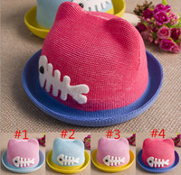 Boy Summer Ball Cap 2014 Fashion Brand New Fishbone Hemming Breathable Cotton Billycock Summer Cat Ear Cool Straw Hats 5pcs lot free shipping MZ-163