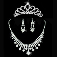 Jewelry Sets accessories and ornaments - Top Quality Bling Crystal Tiaras Necklace And Earrings Cheap Wedding Accessories Bridal Ornaments Jewelry DL1311292