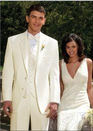 New Style Slim Fit Two Buttons Groom Tuxedos Ivory Best man Notch Lapel Groomsman Men Wedding Suits Bridegroom(Jacket+Pants+Tie+Vest)J392