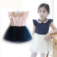 EMS Pink Summer Kids Dress Princess Lace Puff Sleeve Doll Co...