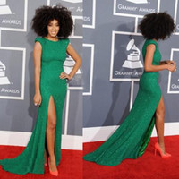 Wholesale 2014 New Solange Knowles Cap Sleeve Celebrity Dresses High Neck Sequins Beaded Green Sexy Evening Dresses