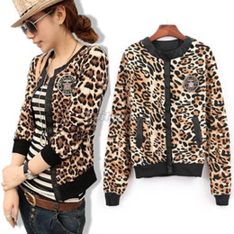 Wholesale Fashion Women Lady Casual Zipper Long Sleeve Short Leopard Print Coat Jacket ax296