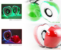 Universal apple color computers - Shinning apple style LED lights crystal green red color mini apple speaker computer speakers usb mini speaker music box hot selling products