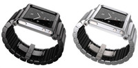 Modern Men's Black Free Shipping Latest Metal alloy Luna&Tik&Tok Fashion Watch Wrist Bands Strap protective cover for iPod Nano 6 with2 colors Silver and black