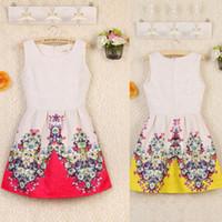 Wholesale Details about Womens Round Neck Sleeveless Back Zip Floral Print Elegant Princess Short Dress