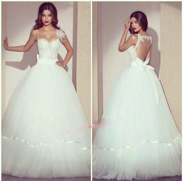 Poofy Ball Gown Wedding Dress With Bows