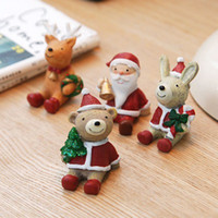Wholesale Lovely animal Resin home ornaments Zakka style Shop windows decoration Crafts Handicrafts Children s Christmas Gifts Santa Claus Snowman