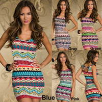 Wholesale Women s Bohemian Colorful Casual Dresses with Stretch Retro Geometric Totem Sheath Lady s Summer Bodycon Dress N115