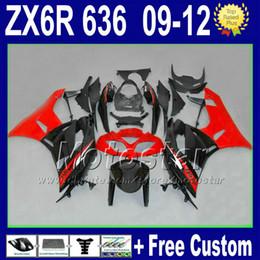 Customized fairings kit for KAWASAKI ZX-6R 09 10 11 12 NINJA red black fairing ZX6R ZX 6R 636 ZX636 2009 2011 2012 Rt4