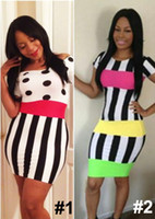 Sexy Women's Black- White Striped Bodycon Dress Dot Club wear...