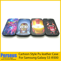 For Samsung Leather  New Cool Flip PU leather case carton iron man Stand Holder Leather Case Cover For Samsung Galaxy S3 SIII I9300 With Opp bags package