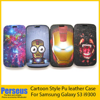 For Samsung Leather  Hot selling Cool Flip PU leather case carton iron man Stand Holder Leather Case Cover For Samsung Galaxy S3 I9300 With Opp bags package