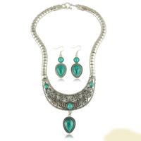achat en gros de gros bijoux en pierre chunky-Turquoise Mode gros Pierre Résine Waterdrop Choker Collar Collier Boucles d'oreilles ensemble de bijoux pour les femmes Déclaration Chunky x4069
