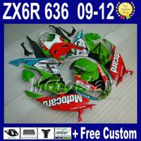 achat en gros de zx6r vert carénage-7 Cadeaux kits de carénages pour carénages KAWASAKI NINJA ZX6R 09 10 11 12 ZX 6R 636 carrosserie verte rouge ZX-6R 2009 2010 2011 2012 ZX636 Rt50
