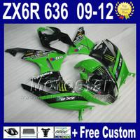 Wholesale 7 Gifts motorcycle fairings for KAWASAKI NINJA kit ZX6R ZX R ZX636 black green customize fairing kits ZX R Rt48