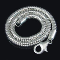 Wholesale Sterling Silver Bracelet fit Diy European Charm Bead Silver Clasp Snake Bracelet Chain SJ0003