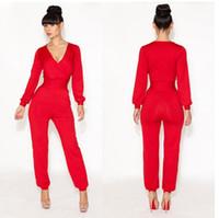 Polyester Long Sleeve Long 4 Colors! 2014 new elegant bandage dress Deep V-Neck bodycon club party dresses women celebrity clubwear Jumpsuit