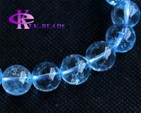 Wholesale High Quality Clear Genuine Gemstone Blue Topaz Stretch Bracelets Round Big Beads mm mm mm mm mm mm mm mm
