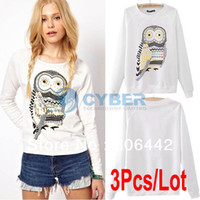 Women Cotton Polo 3Pcs Lot Fashion Style Women's Casual Cute White Owl Animal Print Beading Pullover O Neck Long Sleeve T-shirt Tee 2Sizes 18771