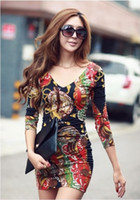 V_Neck korean - HT418 Autumn latest sexy women clothing Korean sexy floral Hip pack slim women one piece dress M XL