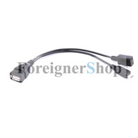 Wholesale Micro USB Male To USB Female Host OTG Cable Micro USB Adapter Y Splitter