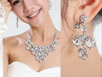 Wholesale New Crystals Silver Rhinestone Necklace Earrings Jewelry Sets Girl s and Women Prom Cocktail Homecoming Party Bridal Gowns Wedding