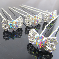 Wholesale Crystal Rhinestone Bowknot Flower Fashion Women Girl Hair Pin Clips Hair Jewelry