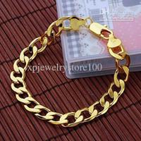 al por mayor gf bracelet-Venta por mayor - venta por menor joyería 14K amarillo oro lleno de cadenas de acera hombres de GF pulseras 8.0 enlace 17g