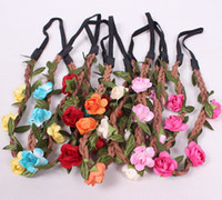 Headbands mixed colors Bohemian 50pcs lot Women Summer Beach Bohemian Flower Headband Festival Wedding Bride Floral Garland Hair Band Headwear Hair Accessories