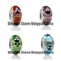 Glass Animals Round 4pcs 925 Sterling Silver Screw Lady Bird Murano Glass Beads Fit Pandora Jewelry Charm Bracelets & Necklaces