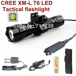 Wholesale Car Mount Holster - USA EU Hot Sell 501B 1-Mode Cree XM-L T6 LED Tactical Flashlight Torch with Battery Charger Car charger holster mounts Pressure Switch