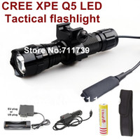 Wholesale UltraFire B Mode Cree Q5 LED Tactical Flashlight Torch with Battery Charger Car charger holster mounts Pressure Switch